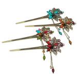 Stick flokët, Alloy zink, with Rrëshirë, Lule, Ngjyra antike bronz i praruar, me diamant i rremë, asnjë, , nikel çojë \x26amp; kadmium falas, 162x63x14mm, 12PC/Qese,  Qese