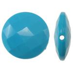 Beads Solid Color akrilik, Round Flat, asnjë, ngjyra të forta, blu, 25x8mm, : 2mm, 150PC/Qese,  Qese