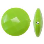 Beads Solid Color akrilik, Round Flat, asnjë, ngjyra të forta, e gjelbër, 25x8mm, : 2mm, 150PC/Qese,  Qese