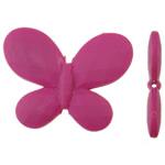 Beads Solid Color akrilik, Flutur, asnjë, ngjyra të forta, Pink fuchsia, 45.50x34.50x6.50mm, : 2.5mm, 85PC/Qese,  Qese