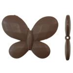 Beads Solid Color akrilik, Flutur, asnjë, ngjyra të forta, ngjyrë kafe, 45.50x34.50x6.50mm, : 2.5mm, 85PC/Qese,  Qese