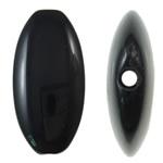 Beads Solid Color akrilik, Oval Flat, asnjë, ngjyra të forta, e zezë, 19.50x39x6mm, : 2mm, 155PC/Qese,  Qese