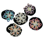 Tie diamant i rremë Flokët Lule, Velveteen, with Xham & Diamant i rremë & Alloy zink, Ngjyra argjend praruar, asnjë, 49x50x25mm, : 6Inç, 12PC/Qese,  Qese