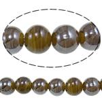 Plattierte Lampwork Perlen, rund, Kaffeefarbe, 16mm, Bohrung:ca. 1-2.5mm, Länge:ca. 12.8 ZollInch, 10SträngeStrang/Tasche, verkauft von Tasche