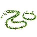 Natyrore kulturuar Pearl ujërave të ëmbla bizhuteri Sets, Pearl kulturuar ujërave të ëmbla, with Cord Wax, Oval, i lyer, e gjelbër, 9-10mm, :19.5Inç,  I vendosur