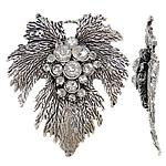 Pendants Zink Alloy Leaf, Alloy zink, Gjethe, Ngjyra antike argjendi praruar, me diamant i rremë, asnjë, , nikel çojë \x26amp; kadmium falas, 54.50x63.50x12mm, : 8x6mm, 10PC/Qese,  Qese