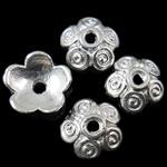 Zinklegierung Perlenkappe, Blume, silberfarben plattiert, frei von Nickel, Blei & Kadmium, 10x10x3.50mm, Bohrung:ca. 1.5mm, ca. 2500PCs/kg, verkauft von kg