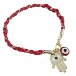 Hamsa Bracelets, Zinc Alloy, with Nylon Cord, zinc alloy lobster clasp, Hand, gold color plated, enamel, 16x21x1.5mm, Sold Per 6.5 Inch Strand