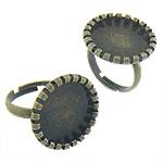 Bezel Brass Ring Base, Tunxh, Shape Tjera, Ngjyra antike bronz i praruar, asnjë, asnjë, , nikel çojë \x26amp; kadmium falas, 20x20x2mm, : 17x17, 17mm, :6.5, 200PC/Qese,  Qese
