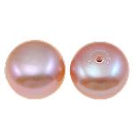 Gjysma shpuar Beads kulturuar Pearl ujërave të ëmbla, Pearl kulturuar ujërave të ëmbla, Round Flat, natyror, rozë, 9.5mm, 27Çiftet/Qese,  Qese