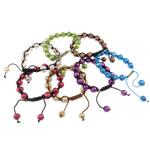 Ujërave të ëmbla Pearl Shamballa Bracelets, Pearl kulturuar ujërave të ëmbla, with Cord Wax, Shape Tjera, i lyer, ngjyra të përziera, 9-10mm, :7.5Inç, 10Fillesat/Qese,  Qese
