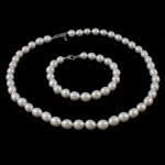 Natyrore kulturuar Pearl ujërave të ëmbla bizhuteri Sets, Pearl kulturuar ujërave të ëmbla, Oriz, natyror, e bardhë, 8mm, :16.5Inç,  7Inç,  I vendosur