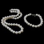 Natyrore kulturuar Pearl ujërave të ëmbla bizhuteri Sets, Pearl kulturuar ujërave të ëmbla, Round, natyror, e bardhë, 8mm, :16.5Inç,  6.5Inç,  I vendosur