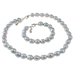 Natyrore kulturuar Pearl ujërave të ëmbla bizhuteri Sets, Pearl kulturuar ujërave të ëmbla, Oriz, natyror, gri, 11-12mm, :16.5Inç,  7Inç,  I vendosur