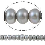 Button Beads ujërave të ëmbla kulturuar Pearl, Pearl kulturuar ujërave të ëmbla, Buton, natyror, gri, 12-16mm, : 1mm, : 15Inç,  15Inç,