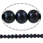 Barok Beads kulturuar Pearl ujërave të ëmbla, Pearl kulturuar ujërave të ëmbla, Round, natyror, e zezë, 7-8mm, : 1mm, :15Inç,  15Inç,