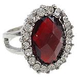 Zink Alloy Ring Finger, Alloy zink, with Rrëshirë, Oval, ngjyrë platin praruar, me diamant i rremë, asnjë, , nikel çojë \x26amp; kadmium falas, 23x28x20mm, : 20mm, :10.5,  PC