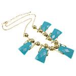 Mode Statement Halskette, Zinklegierung, mit Eisen & Acryl, Zinklegierung Karabinerverschluss, Trapez, goldfarben plattiert, blau, frei von Nickel, Blei & Kadmium, 20x37x5mm, verkauft per ca. 17 ZollInch Strang