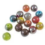 Beads plumb Zi akrilik, Round, plumbit ngjyrë të zezë praruar, ngjyra të forta, ngjyra të përziera, 10mm, : 2mm, 5KG/Shumë,  Shumë