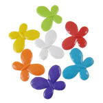 Beads Solid Color akrilik, Flutur, asnjë, ngjyra të forta, ngjyra të përziera, 45x35x6.50mm, : 2.5mm, 5KG/Shumë,  Shumë