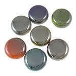 Beads plumb Zi akrilik, Monedhë, plumbit ngjyrë të zezë praruar, ngjyra të forta, ngjyra të përziera, 22x11mm, : 2.5mm, 5KG/Shumë,  Shumë