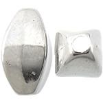 Veshura bakri Beads plastike, plastike bakrit të veshura, Oval, ngjyrë platin praruar, asnjë, asnjë, , nikel çojë \x26amp; kadmium falas, 6x11x5mm, : 1.5mm, 5000PC/KG,  KG