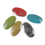 Beads plumb Zi akrilik, Oval, plumbit ngjyrë të zezë praruar, faceted & ngjyra të forta, ngjyra të përziera, 20x35x7.50mm, : 2mm, 5KG/Shumë,  Shumë