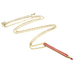 Zinklegierung Schmuck Halskette, mit Emaille & Eisen, Zinklegierung Karabinerverschluss, goldfarben plattiert, frei von Nickel, Blei & Kadmium, 4x47mm, verkauft per ca. 22.5 ZollInch Strang