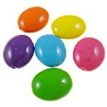 Beads pikturuar akrilik, Oval, pikturë, asnjë, ngjyra të përziera, 20x24x11.50mm, : 2.5mm, 5KG/Shumë,  Shumë