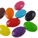 Beads pikturuar akrilik, Oval, pikturë, asnjë, ngjyra të përziera, 13x19x6.50mm, : 1.5mm, 5KG/Shumë,  Shumë