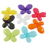 Akrilik Jelly Style Beads, Flutur, asnjë, Stili pelte, ngjyra të përziera, 29x23x4mm, : 2mm, 5KG/Shumë,  Shumë