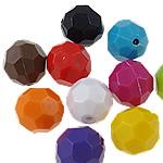 Beads Solid Color akrilik, Round, asnjë, ngjyra të forta, ngjyra të përziera, 10mm, : 2mm, 5KG/Shumë,  Shumë