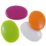 Beads Solid Color akrilik, Oval Flat, asnjë, ngjyra të forta, ngjyra të përziera, 24.50x34.50x7mm, : 1.5mm, 5KG/Shumë,  Shumë