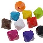 Beads Solid Color akrilik, Bicone, asnjë, ngjyra të forta, ngjyra të përziera, 10x10mm, : 2mm, 5KG/Shumë,  Shumë