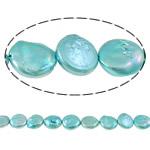 Monedhë Beads ujërave të ëmbla kulturuar Pearl, Pearl kulturuar ujërave të ëmbla, Buton, i lyer, dritë blu, 13-14mm, : 1mm, :15Inç,  15Inç,