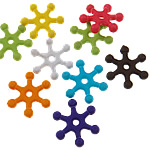Beads Solid Color akrilik, Flok dëbore, asnjë, ngjyra të forta, ngjyra të përziera, 14x15x3mm, : 2mm, 5KG/Shumë,  Shumë