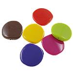 Beads Solid Color akrilik, Round Flat, asnjë, ngjyra të forta, ngjyra të përziera, 23x23x6mm, : 2mm, 5KG/Shumë,  Shumë