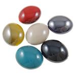 Beads plumb Zi akrilik, Oval, plumbit ngjyrë të zezë praruar, ngjyra të forta, ngjyra të përziera, 24x29x15mm, : 2.5mm, 5KG/Shumë,  Shumë
