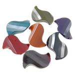 Beads plumb Zi akrilik, Letër, plumbit ngjyrë të zezë praruar, ngjyra të forta, ngjyra të përziera, 18x27x7mm, : 2mm, 5KG/Shumë,  Shumë