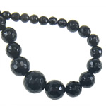 Beads Natyrore Zi agat, Black agat, Round, asnjë, faceted, 6-14, : 1mm, :18Inç, 5Fillesat/Shumë,  Shumë