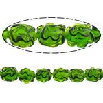 Beads Lampwork me gunga, Oval, asnjë, asnjë, e gjelbër, 18x12mm, : 2mm, :10Inç, 5Fillesat/Shumë,  Shumë