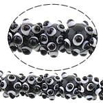 Beads Lampwork me gunga, Shape Tjera, asnjë, asnjë, e zezë, 12x10mm, : 2mm, : 10.5Inç, 5Fillesat/Shumë,  Shumë