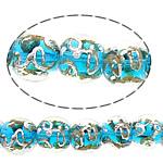Sand Gold \x26amp; Silver Lampwork petë, Round, asnjë, rërë ari dhe argjendi me letër varaku, blu, 12-13mm, : 3mm, : 11Inç, 10Fillesat/Shumë,  Shumë