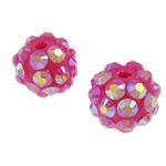 Harz Strass Perlen, Trommel, Rosa, 10x12mm, Bohrung:ca. 2mm, 100PCs/Tasche, verkauft von Tasche