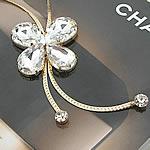 Zinxhiri gjerdan triko, Alloy zink, with Kristal, Flutur, ngjyrë ari praruar, me diamant i rremë, asnjë, , nikel çojë \x26amp; kadmium falas, 46x50mm, :27.5Inç, 3Fillesat/Shumë,  Shumë