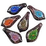 Pendants Inner Lampwork Lule, Gjethe, punuar me dorë, rërë ari, ngjyra të përziera, 27x54x14mm, : 6.5x8mm, 12PC/Kuti,  Kuti