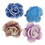 Beads polimer balta, Polymer Clay, Lule, asnjë, asnjë, ngjyra të përziera, 23-27mm, : 2mm, 100PC/Qese,  Qese