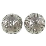 Beads bizhuteri Hekuri, Round, ngjyrë platin praruar, i uritur, asnjë, , nikel çojë \x26amp; kadmium falas, 6mm, : 1mm, 10000PC/Qese,  Qese