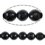 Beads Natyrore Zi agat, Black agat, Round, asnjë, faceted, 18mm, : 2mm, :16Inç, 5Fillesat/Shumë,  Shumë