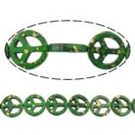 Bruz Beads, Bruz sintetike, Round Flat, asnjë, asnjë, e gjelbër, 15x15x4mm, : 1.5mm, :15.5Inç, 30Fillesat/Shumë,  Shumë